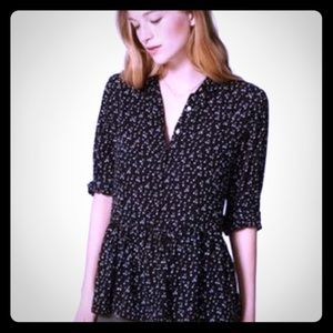 Loft women Black peplum blouse with cherry print